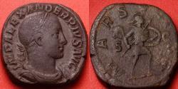 Ancient Coins - SEVERUS ALEXANDER AE sestertius. MARS ULTOR, Mars advancing right, holding spear & shield. 22.0g