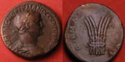 Ancient Coins - TRAJAN AE base metal or fouree tridrachm. Bostra. Bundle of six grain ears.