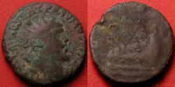 Ancient Coins - POSTUMUS AE dupondius. LAETITIA AVG, galley sailing right. Blundered legend POSVMVS