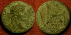 Ancient Coins - TIBERIUS AUGUSTUS AE semis/quadrans. Lugdunum, 14-15 AD, post accession type. Scarce.