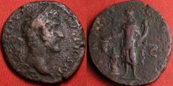 Ancient Coins - ANTONINUS PIUS AE as. Salus feeding serpent arising from altar.