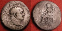 Ancient Coins - VESPASIAN AR silver denarius. Ephesus, 71 AD. CONCORDIA AVG, Ceres seated left. Ligate mintmark in exergue