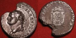 Ancient Coins - TITUS AUGUSTUS AR silver denarius. Throne with corn-ears. Left facing portrait, very scarce.