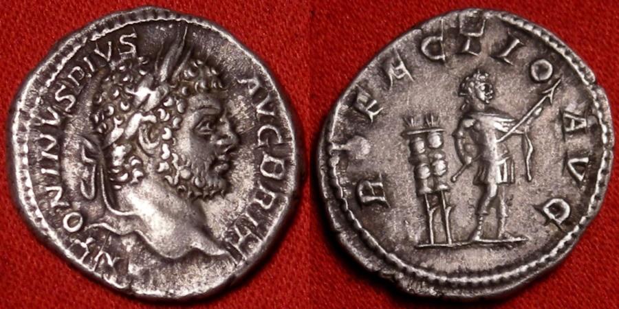 Ancient Coins - CARACALLA AR silver denarius. Rome, 213 AD. PROFECTIO AVG, Caracalla standing, two standards behind. Attractive