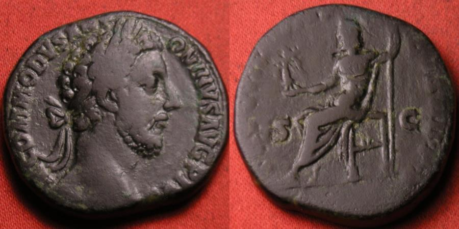 Ancient Coins - COMMODUS AE sestertius. 183 AD. Jupiter seated, holding Victory & scepter.