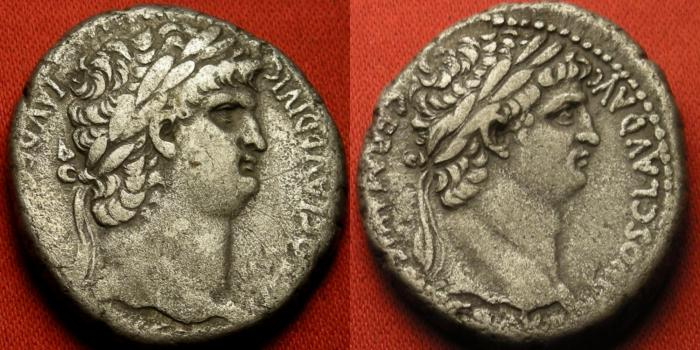 Ancient Coins - DIVUS CLAUDIUS & NERO AR silver tetradrachm. Caesarea, Cappadocia. Dual portrait issue, Latin legends. Scarce.