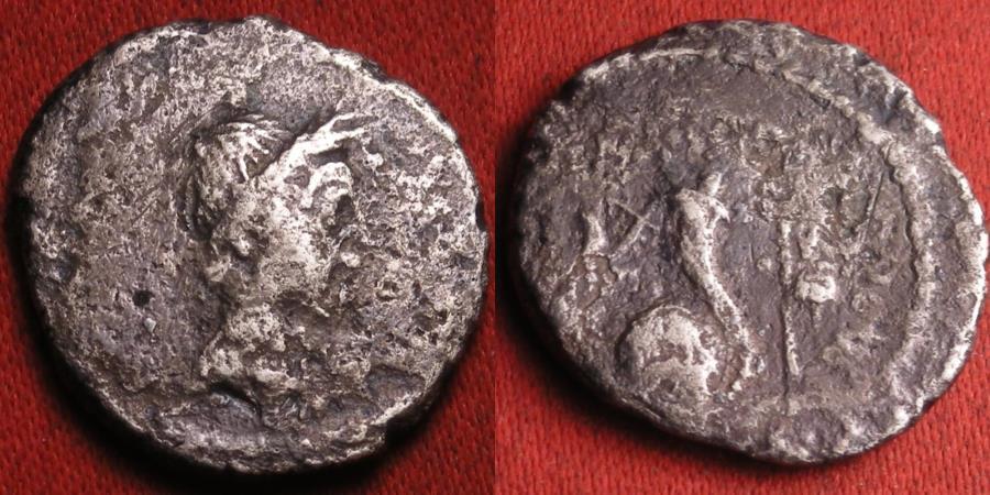 Ancient Coins - JULIUS CAESAR DICTATOR AR silver denarius. Portrait issue, 42 BC, L Mussidius Longus. Rare.