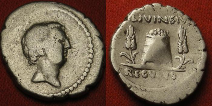 Ancient Coins - L LIVINEIUS REGULUS AR silver denarius. Modius between grain ears. Nice reverse.
