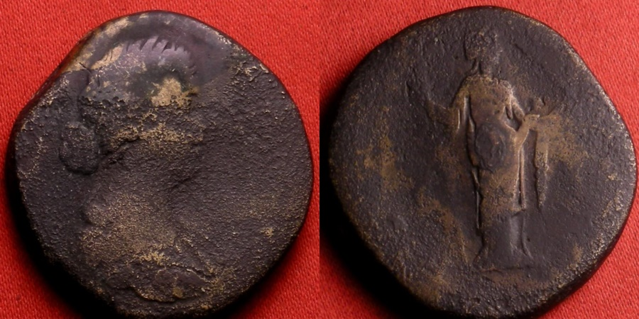 Ancient Coins - FAUSTINA II JUNIOR AE sestertius. Spes standing, holding flower and raising hem of skirt.