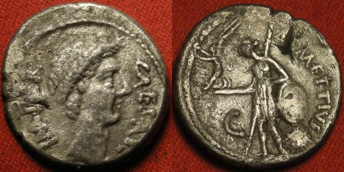 Ancient Coins - JULIUS CAESAR AR silver denarius. Portrait issue, 44 BC. Venus standing, holding Victory