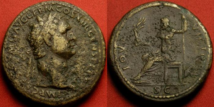 Ancient Coins - DOMITIAN AE sestertius. 95-96 AD. IOVI VICTORI, Jupiter enthroned.