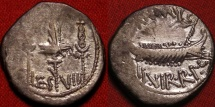 Ancient Coins - MARCUS ANTONIUS AR silver 'legionary' denarius. LEGIO VIII - The eighth legion. Galley sailing, eagle & standards.