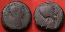 Ancient Coins - JULIUS CAESAR & AUGUSTUS (Octavian) AE 20mm. Thessalonika, Macedon. Dual portrait issue. AMR countermark from Amorium in Phrygia. Very heavy 12.6 gram example - double weight!