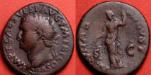 Ancient Coins - TITUS AUGUSTUS AE as. Aequitas standing, holding scales & scepter. Left facing portrait. Very nice