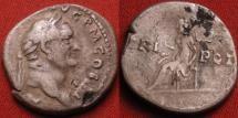 Ancient Coins - VESPASIAN AR silver denarius. Vesta seated left. Dated 4th consulship, 72-73 AD.
