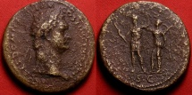 Ancient Coins - DOMITIAN AE orichalcum sestertius. Domitian being crowned by Victoria. Large 36mm flan