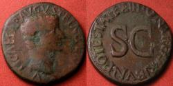 Ancient Coins - TIBERIUS, as Caesar under Augustus, AE as. Legend around large SC, struck 8-12 AD