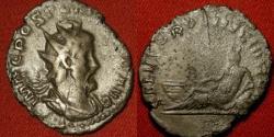 Ancient Coins - POSTUMUS AR silver antoninianus. Horned Rhine reclining. SALVS PROVINCIARVM. Scarce