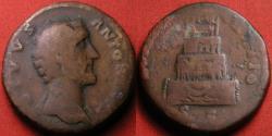Ancient Coins - DIVUS ANTONINUS PIUS AE sestertius. Consecratio, four tiered funeral pyre. Scarce.