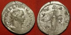 Ancient Coins - GALLIENUS AR silver antoninianus. Salus standing, feeding serpent in her arms. SALVS AVG, high silver content.