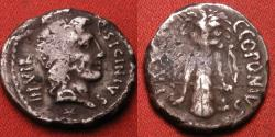 Ancient Coins - Quintus Sicinius & Caius Coponius AR silver denarius, struck for POMPEY, 49 BC. Scarce. Club of Hercules, with arrow and bow, lion skin draped over top.