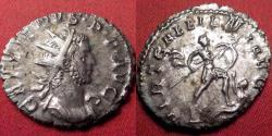 Ancient Coins - GALLIENUS AR silver antoninianus. VIRT GALLIENI AVG, Emperor advancing, treading on captive. Rare.