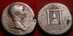 Ancient Coins - TRAJAN AR silver tridrachm. Caesarea, Cappadocia. Distyle temple, Pergaean Artemis within