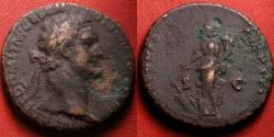 Ancient Coins - DOMITIAN AE as. Fortuna standing, holding rudder & cornucopia.