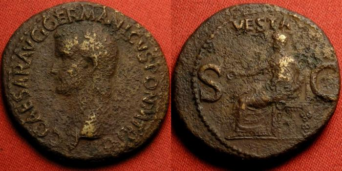 Ancient Coins - CALIGULA AE as. Struck 37-38 AD. Vesta seated, holding patera & sceptre.