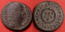 Ancient Coins - CONSTANTINE I THE GREAT AE3, struck at Heraclea. Vows in wreath, legend surrounding.