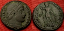Ancient Coins - CONSTANTINE I THE GEAT AE3. 327 AD, GLORIA EXERCITUS with one soldier standing. R3.