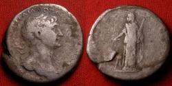 Ancient Coins - TRAJAN AR silver tridrachm. Caesarea, Cappadocia. Arabia standing, camel beside.