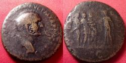 Ancient Coins - VESPASIAN AE sestertius. Rome, 71 AD. SPES AVGVSTA, Spes presenting a flower to three legionaries (Or the Flavian dynasty). Hope for the new regime