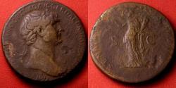 Ancient Coins - TRAJAN AE orichalcum sestertius. Felicitas standing left, holding caduceus & cornucopia.