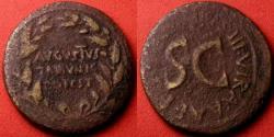 Ancient Coins - AUGUSTUS AE dupondius. Moneyer's series, 18 BC, T Quinctius Crispinus Sulpicianus. Legend in oak wreath.