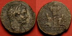 Ancient Coins - SEPTIMIUS SEVERUS AE sestertius. PART ARAB PART ADIAB, captives under trophy of arms.