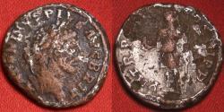 Ancient Coins - CARACALLA AR fouree denarius. Rome, 213 AD. Turreted Serapis standing, raising hand in salute