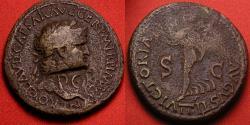 Ancient Coins - NERO AE orichalcum laureate dupondius. Lugdunum mint, 66 AD. VICTORIA AVGVST, Victory advancing left. SPQR countermark of the Civil War (by Julius Vindex) across Nero's neck.