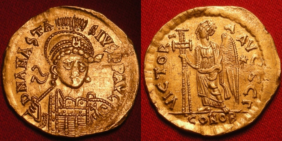 Ancient Coins - ANASTASIUS AU gold solidus. Constantinople, 491-498. Victory standing, holding long jewelled cross.