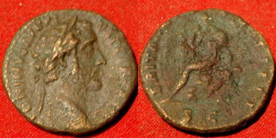 Ancient Coins - ANTONINUS PIUS AE as. ROMAN BRITAIN, Britannia seated on rock. Rare