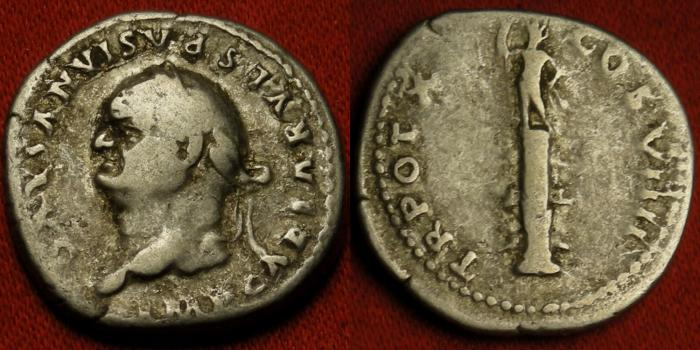 Ancient Coins - VESPASIAN AR silver denarius. Statue of Sol, standing on rostral column. Left facing bust. Scarce.