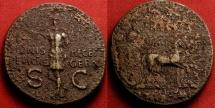 Ancient Coins - GERMANICUS AE dupondius. Struck under Caligula. SIGNIS RECEPT DEVICTIS GERM, Germanicus in quadriga