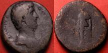 Ancient Coins - AELIUS CAESAR AE orichalcum sestertius. Spes advancing left. 137 AD, Rome. Draped bust type. Scarce.