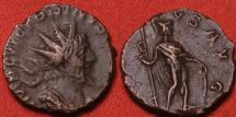 Ancient Coins - VICTORINUS AE antoninianus. Virtus standing, holding spear & shield