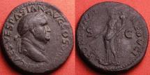 Ancient Coins - VESPASIAN AE as. Fortuna standing, holding rudder & cornucopia. Lugdunum.