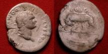 Ancient Coins - DOMITIAN, as Caesar under Vespasian, AR silver denarius. She-Wolf, suckling twins