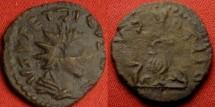 Ancient Coins - TETRICUS II CAESAR AE barbarous/imitative antoninianus. Priestly implements