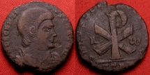 Ancient Coins - DECENTIUS AE centenionalis. Large Chi-Ro, A W beside. Trier mint. Very scarce