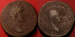 Ancient Coins - ANTONINUS PIUS & MARCUS AURELIUS CAESAR AE sestertius. 140-141 AD. Dual portrait issue.