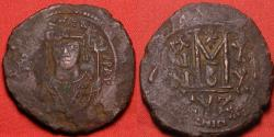 Ancient Coins - MAURICE TIBERIUS AE large follis. Regnal year 20, final year of Maurice's reign.